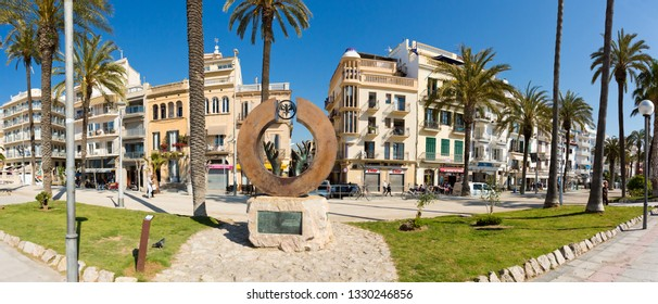 Sitges, Spain - March 5, 2019: Street views of the town of Sitges. Sitges is a coastal town in Spain's Catalonia region, southwest of Barcelona.