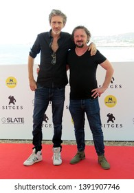 "SITGES, SPAIN - October 11, 2018: 51st Sitges Film Festival - Photo call of ""Tous les dieux du ciel"" - Quarxx (Director) and Jean-Luc Couchard (Actor)"