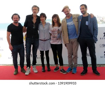 "SITGES, SPAIN - October 11, 2018: 51st Sitges Film Festival - Photo call of ""Tous les dieux du ciel"" team film"