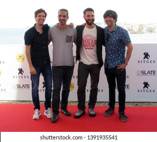 "SITGES, SPAIN - October 11, 2018: 51st Sitges Film Festival - Photo call of ""Superlópez"" - Julián López, Javier Ruiz Caldera, Dani Rovira and Diego San José"