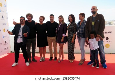 "SITGES, SPAIN - October 11, 2018: 51st Sitges Film Festival - Photo call of ""El año de la plaga"" team film"