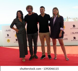 "SITGES, SPAIN - October 11, 2018: 51st Sitges Film Festival - Photo call of ""El año de la plaga"" - Silvia Abril, Iván Massagué, Carlos Martín Ferrera and Miriam Giovanelli"