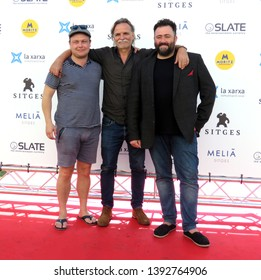 "SITGES, SPAIN - October 11, 2018: 51st Sitges Film Festival - Photo call of ""Keepers"" - Kristoffer Nyholm (Director) and Joe Bone / Cecyl Jones (screenwriters)"