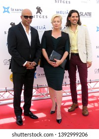"SITGES, SPAIN - October 11, 2018: 51st Sitges Film Festival - Photo call of ""Cemetery tales: a tale of two sisters"" - Chris Roe, Tracy Lords and Matt O'Neill"
