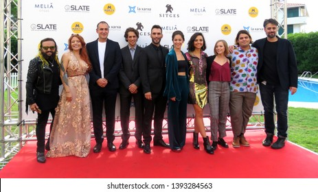 SITGES, SPAIN - October 11, 2018: 51st Sitges Film Festival - Blood red carpet -                   Young acting talent and new filmmakers