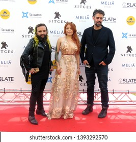 SITGES, SPAIN - October 11, 2018: 51st Sitges Film Festival - Blood red carpet - Sandra Arriagada (screenwriter), Nicolas Puenzo / Rafael Robles - Rafatal  (Directors)