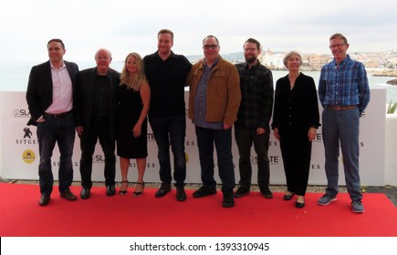 "SITGES, SPAIN - October 12, 2018: 51st Sitges Film Festival - Photo call of ""The man who killed Hitler and then the bigfoot"" team film"