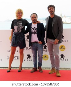 "SITGES, SPAIN - October 12, 2018: 51st Sitges Film Festival - Photo call of ""70 Binladens"" - Nathalie Poza, Koldo Serra and Hugo Silva"