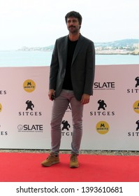 "SITGES, SPAIN - October 12, 2018: 51st Sitges Film Festival - Photo call of ""70 Binladens"" - Hugo Silva"