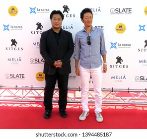 "SITGES, SPAIN - October 12, 2018: 51st Sitges Film Festival - Photo call of ""I want to eat your pancreas"" - Shinichiro Kashiwada and Masanori Miyake (producers)"