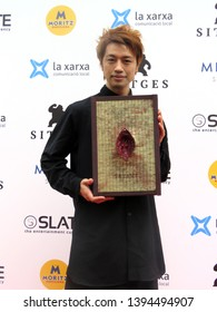 "SITGES, SPAIN - October 13, 2018: 51st Sitges Film Festival - Photo call of ""Folklore"" TV Mini Series / ""Tatami"" episode - Takumi Saitoh (Director)"