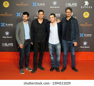 SITGES, SPAIN - October 13, 2018: 51st Sitges Film Festival - Red Carpet of Pedro González, Javier Morales, José Skaf and César González