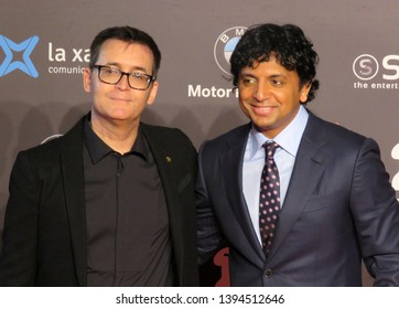 SITGES, SPAIN - October 13, 2018: 51st Sitges Film Festival - Red Carpet of M. Night Shyamalan with Ángel Sala (festival director)