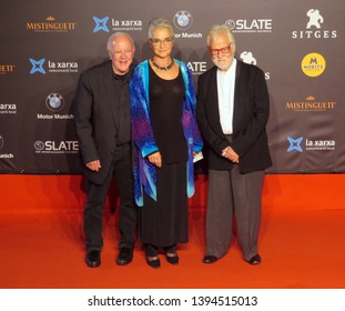 "SITGES, SPAIN - October 13, 2018: 51st Sitges Film Festival - Red Carpet of ""2001: A Space Odyssey"" - Jan Harlan and Douglas Trumbull (producers) and Katharina Kubrick (daughter)"
