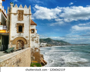 SITGES,  SPAIN - OCTOBER 31, 2015: CALM CORNER - Museum Cau Ferrat, Maricel Palace and Church of Santa Tecla.  in Sitges, Barcelona - Spain.