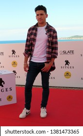 "SITGES, SPAIN - October 5, 2018: 51st Sitges Film Festival - Photo call of ""La sombra de la ley"" - Jaime Lorente"