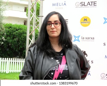 "SITGES, SPAIN - October 7, 2018: 51st Sitges Film Festival - Photo call of ""Virtual Hero"" - Lolita Aldea (Art director)"