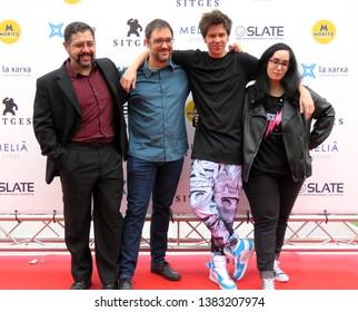 "SITGES, SPAIN - October 7, 2018: 51st Sitges Film Festival - Photo call of ""Virtual Hero"" - Juan Torres, Alexis Barroso, El Rubius and Lolita Aldea"