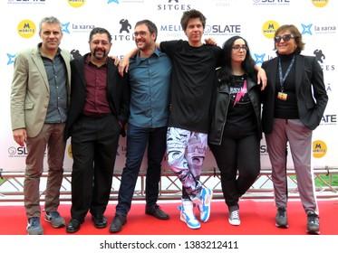 "SITGES, SPAIN - October 7, 2018: 51st Sitges Film Festival - Photo call of ""Virtual Hero"" - Domingo Corral, Juan Torres, Alexis Barroso, El Rubius, Lolita Aldea and Pilar Blasco"