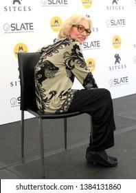 SITGES, SPAIN - October 7, 2018: 51st Sitges Film Festival - Photo call of Helga Liné (Nosferatu award)