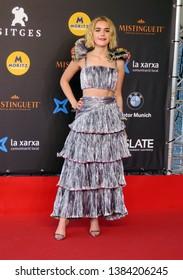 "SITGES, SPAIN - October 7, 2018: 51st Sitges Film Festival - Red Carpet of ""Chilling Adventures of Sabrina"" - Kiernan Shipka"