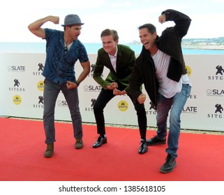 """SITGES, SPAIN - October 9, 2018: 51st Sitges Film Festival - Photo call of """"Perfect"""" - Maurice Compte and Garret Wareing (Actors) and Rooter Wareing (producer)"""