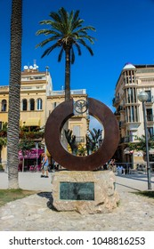 SITGES, SPAIN - SEPTEMBER 15, 2013: Monuments of Sitges in front of the Cathedral