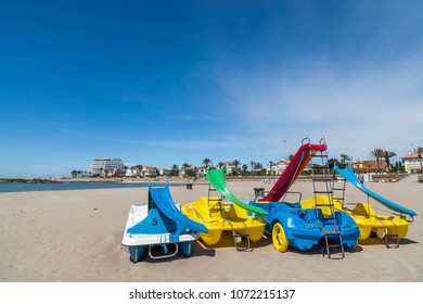 SITGES,SPAIN-MAY 30,2013:Mediterranean beach in Sitges, Catalonia, Spain.