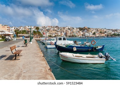 SITIA, CRETE, GREECE - JUNE 2016: Seaport of Sitia town with moored traditional Greek fishing boats