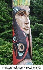 Sitka, Alaska: Totem of the Tsinglit nation on the grounds of the Sitka National Historic Park.