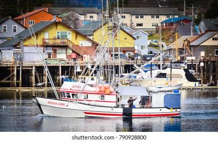 Sitka, Alaska / USA - April 22, 2013: A Fisherman Aboard a Boat in Sitka Near Docks