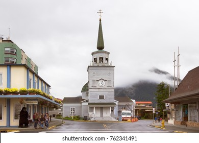 Sitka, Alaska, USA - August 20, 2017: The Cathedral of St Michael Archangel placed at Lincoln and Matsoutoff Streets in Sitka, Alaska.