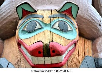 Sitka, Alaska, USA. May 7, 2017. Sitka National Historical Park Totem Poles are a major world famous attraction in Sitka, Alaska.  Totem poles are a well known type of art made by Alaska Natives.