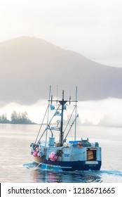 Sitka, Alaska / USA - Oct, 12, 2018: fishing boat in harbor