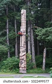 Sitka, Alaska, USA: Totem of the Tsinglit nation on the grounds of the Sitka National Historic Park.