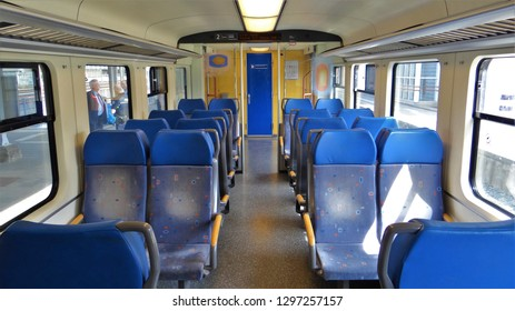 Sittard / Netherlands - July 8 2016: The empty interior of a Dutch NS sprinter passenger train at the railway station of Sittard