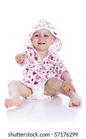 Sitting Baby Girl over white background