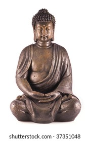A sitting buddha isolated on a white background.