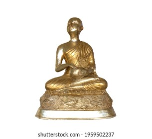 Sitting Buddha statue in brass style isolated on white background.
