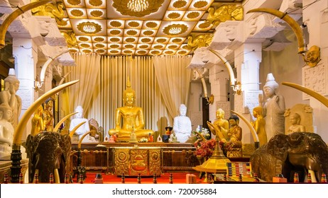 Sitting Buddha statue in Temple of the Tooth. Kandy, Sri Lanka
