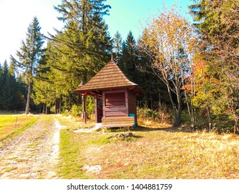 Sitting by the forest, viewpoint Czech Republic Beskydy, colorful autumn forest and meadow.