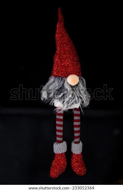 Sitting Christmas Elf Long Grey Hair Stock Photo Edit Now 233052364
