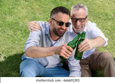 sitting father and adult son clinking with beer bottles and sitting on green grass