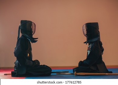 sitting kendo master configured before the fight. Japanese martial art of sword fighting