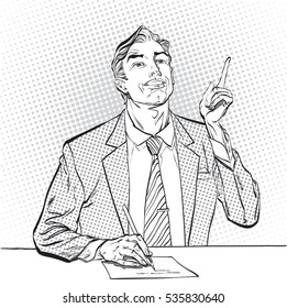 A sitting man with pointing index finger. Man trying to explain something. Man proving  facts. Man explaining something. Businessman giving advice. Concept idea of advertisement. Halftone background.