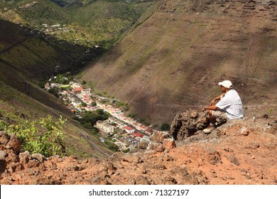 Sitting on hillside above Jamestown St Helena