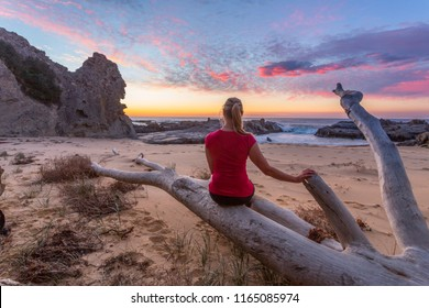 Sitting on large driftwood tree aged and whitened by the salt air and water, watching a glorious sunrise take shape and colour the clouds.  Queen Victoria Rock gazes due east.  South coast Australia