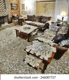 A sitting room where all the furniture and floor surfaces are covered with bank notes or cash, and the walls are decorated with additional notes