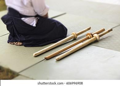 Sitting samurai with catana