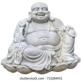 Sitting Smiling Buddha, Oriental ceramic figurine netsuke isolated on white background